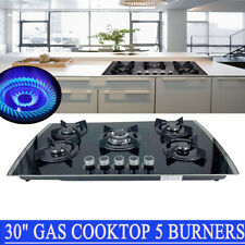 """30"""" Gas Cooktop 5 Burners Built in Gas Stove Lpg/Ng Convertible Tempered Glass"""