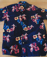 Knightsbridge  large Hawaiian Shirt with Hibiscus and Hula girls