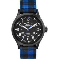 """Timex TW4B02100, """"Expedition"""" Blue Nylon Buffalo Check Watch, Scout, Indiglo"""