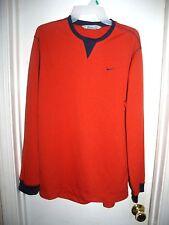 Nike Orange Navy Blue Embroidered Logo L/S Mens Top Size M