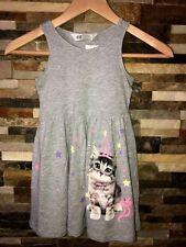 Girls H&M Unicorn Cat Kitten Jersey Dress Gray Cotton Rayon