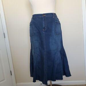 Venezia Plus Sz 26 Blue Jean Skirt Distressed Flare Long Modest Pockets No Slits