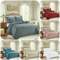 3Pcs Embossed Quilted Bedspread Bed Throw Bedding Set Single Double King Size