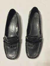ETIENNE AIGNER WOMEN'S 6 1/2M 6.5 M BLACk LEATHER CASUAL FLAT LOAFERS SHOES