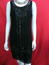 Adrianna Papell Evening Solid Black Sequin Silk Contrast cocktail Dress UK 8
