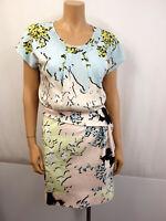 DIANE VON FURSTENBERG Kleid Gr.36 US6 Dress Pastell Blau Rose Gelb Schwarz