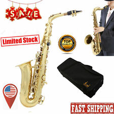 NEW PROFESSIONAL GOLD Bb CURVED SOPRANO SAXOPHONE SAX PACKAGE + USA FH