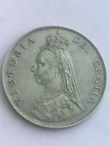 Genuine 1887 Great Britain UK QUEEN VICTORIA Silver Florin Coin