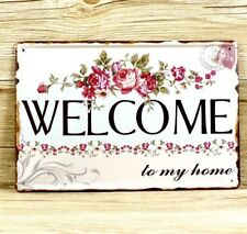"LARGE SHABBY CHIC VINTAGE ""WELCOME"" SIGN METAL PLAQUE 20 X 30CM"