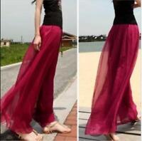 Summer Chiffon Bohemia Women Fashion Casual High Waist Beach Loose Pants Shirts