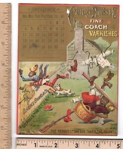 Clarence Brooks Coach Varnishes November 1883 Calendar BLACK Comics Trade Card