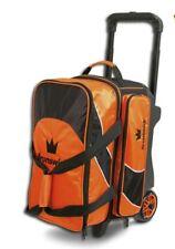 Brunswick EDGE Premium 2 Ball Roller Bowling Bag 5-Inch Wheels Color Orange