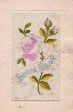 Carte Postale ancienne Fantaisie 1917 Bonne Année Rose Tissée
