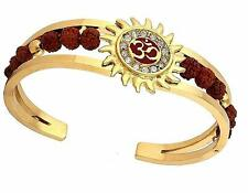Kada Bracelet with Rudraksha for Men American Diamond Gold Plated Om Cuff