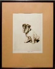 Rare Esther M Davis (American, 1893-1974) Signed Norfolk Terrier Etching, Framed