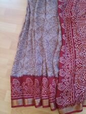 Beautiful; traditional Almond colour with maroon Palu Bandhani New