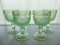 Tiara Indiana Glass 4 Chantilly Green Sandwich 4 ounce Wine Goblets