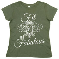 """50th Birthday T-Shirt """"Fit 50 & Fabulous"""" Ladies Women's 50 years young Gift"""