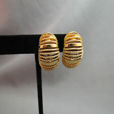 Monet Comfort Clip On Earrings Gold Plated Textured Ribbed Shrimp Hoop Open Work