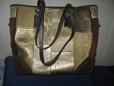 Coach 11409 LARGE Suede Brown Gold Patchwork Handbag Tote PURSE 11 x 13 x 4 GUC