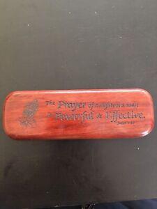 Vtg Wood Pen Case w/Brass Hinges Engraved See Description Below! GREAT VERSE!!