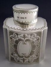 Hermosa Plata Esterlina victoriano inglés Té Caddy Canister 1892 Antiguo
