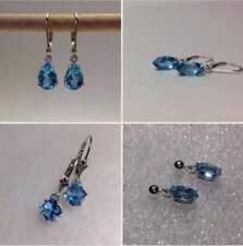 Sterling Silver Natural Swiss Blue Topaz VS (Dangle) Earrings *Various Styles*