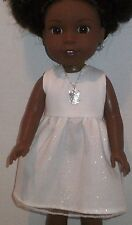 """14.5"""" Doll Clothes-fit American Girl-Wellie Wishers-Dress & Necklace-Wh/Angel"""