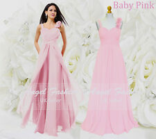 Formal Chiffon Long Evening Ball Gown Party Prom Wedding Bridesmaid Dress UK Baby Pink 10 - 12
