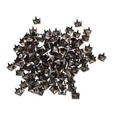 100 5mm Pyramid Dark Grey Stud Rivet DIY Handbags Bracelets AD