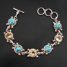 Natural Citrine & Copper Arizona Turquoise 925 Sterling Silver Handmade Bracelet