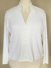 Talbots Woman Stretch Textured Cardigan Sweater Knit Top Button Front White 2X