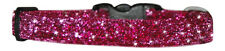 """FABRIC CERISE  PINK  SPARKLE CHIHUAHUA  DOG/PUPPY COLLAR 6""""-8"""" XS"""