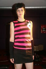 Attempt - XS - Striped Top with Arm Warmers Skull Patch Pink & Black