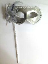 Silver Venetian Mardi Gras Costume Masquerade Fun Halloween Hand Held Stick Mask