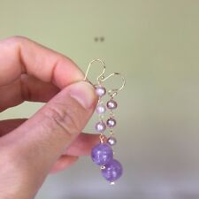 10mm Natural Lavender Amethyst W/high luster Freshwater Pearl 14KGF Earring 142