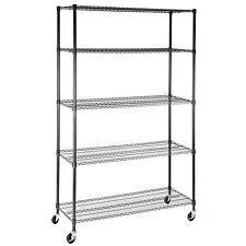 """5 Tier Adjustable Layer Wire 82""""x48""""x18""""  Shelving Rack Heavy Duty Steel Shelf"""