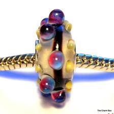 'WHOOPIE' Clear/White & Multi Bobbles Murano Glass European Bracelet Charm Bead