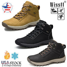 Mens Leather Fleece Hiking Vacation Winter Warm Boots Travel Waterproof Shoes