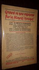 COMMENT ON NOUS EMPOISONNE PAR LES ALIMENTS CHIMIQUES - L.-G. Rancoule 1931