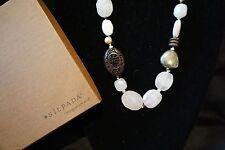 "Palm Wood Silk Necklace 18"" Silpada N1819 Sterling Silver Rose Quartz"