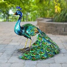 Metal Peacock Garden Decor Sculpture Yard Lawn Pond Patio Art Home Statue Porch