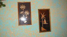 2 Strohbilder mit Bilderrahmen, Wandbild, Wanddekoration, Bild 70er