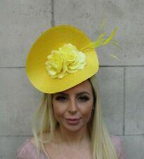Large Yellow Hair Fascinator Rose Feather Floral Big Headband Disc Wedding u1