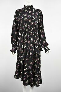 Womens Girls Black Floral Asymmetric Ruffle hem Long Sleeve High Neck Midi Dress