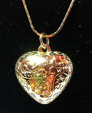 Gold Plated Heart Pendant And Chain With Intricate Engraved Design