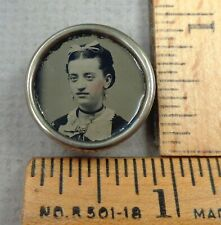 TINTYPE BUTTON #46, 1800s Woman's Head Tinted Photograph, Set in Brass Border
