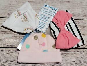 NWT Gerber Baby Girl HAT 3pc Set Hello Rainbow/Unicorn/Dot White/Black Newborn