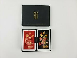 Vintage KEM Maple Leaf Pattern Pinochle Playing Cards Double Deck in Case