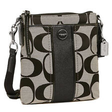 NWT COACH STRIPE SIGNATURE SWING PACK CROSSBODY Black White Shoulder F 48806
